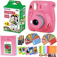 Fujifilm Instax Mini 9 Instant Camera (Flamingo Pink) + Accessory Kit Includes: INSTAX Mini Instant Film (20 pack) + 120 Assorted Sticker Plastic Paper Frames + Photo Album + 4 AA Batteries + MORE