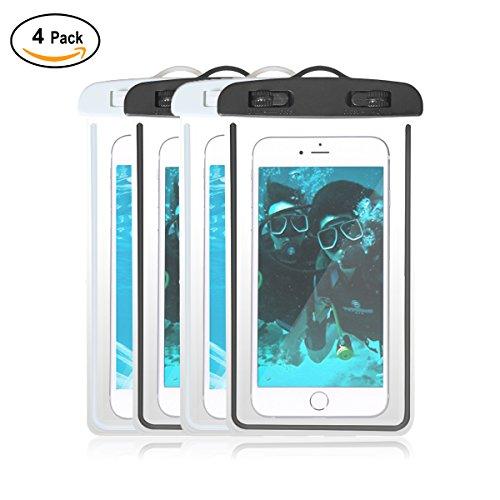 """4-パックユニバーサルipx8防水ケース,光Cellphoneドライバッグ電話ポーチIphone X/8/7plus/6s Plus/Se/5s、Huawei、SAMSUNG GALAXY NOTE、Google Pixel Up To 6.0"""" ホワイト"""