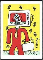 ポスター キース ヘリング TV Man 1990年 限定1000枚ナンバー入り 額装品 アルミ製ハイグレードフレーム(ブラック)