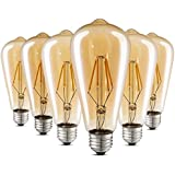 Edison Light Bulb ST64 Non-Dimmable 2700K 40W LED Bulb E27 Base Amber Warm White Decorative Filament Bulb for Wall Sconces Pendant Lighting Pack of 6