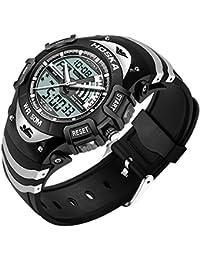 HOSKA かっこいい デジタル 腕時計 キッズ ガールズ ボーイズ 多機能 子供 スポーツウォッチ アラーム ストップウォッチ (ブラック)