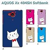 AQUOS Xx 404SH (ねこ09) C [C021604_03] 猫 にゃんこ ネコ ねこ柄 リボン アクオス スマホ ケース softbank