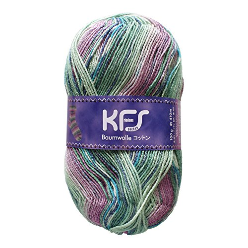 Opal毛糸 オリジナルコットン KFS153 アハト/パープル・グリーン系マルチカラー