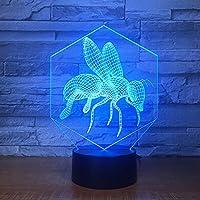 勤勉な蜂3D 7色ランプキッズタッチUsbテーブルLamparaランペベビー睡眠常夜灯の視覚Ledナイトライト
