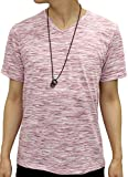 OVAL DICE(オーバルダイス) Tシャツ ネックレス セット 半袖 ゆる Vネック 無地 メンズ ワイン L