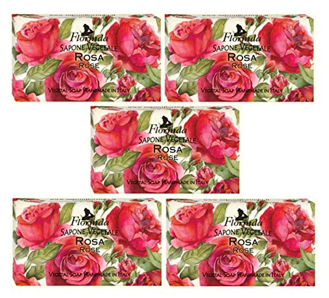 静かな寛解心理的にフロリンダ フレグランスソープ 固形石けん 花の香り ローズ 95g×5個セット