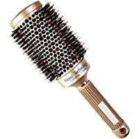 Round Barrel Hair Brush with Simulation Boar Bristle, for Hair Drying, STYL H5M3 Gold 33mm (1.3 inch)