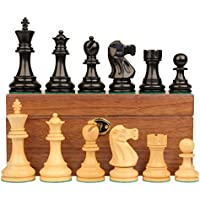 デラックス古いClub Stauntonチェスセットin Ebonized Boxwood & Boxwood withウォールナットボックス – 3.25