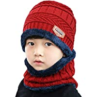 T-wilker 2Pcs Kids Winter Knitted Hats+Scarf Set Warm Fleece Lining Cap for 5-14 Year Old Boys Girls