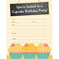 cupcake themed birthday party invitations gender neutral set of