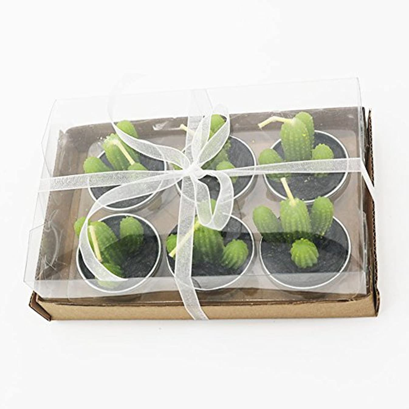 積分ホール役割Liebeye キャンドル 多肉植物スモークフリーのクリエイティブなキャンドル100%自然のワックスかわいい模造植物フルーツの形状低温キャンドル 6個/箱 カクタス?ボックス