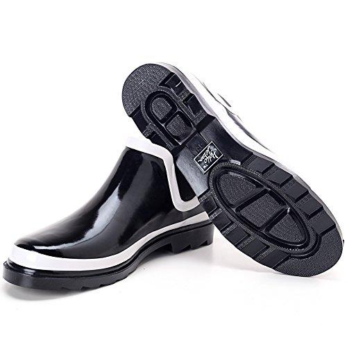 Hellozebra 天然ゴムメンズショートレインブーツ 男の子雨靴 26.5cm 主にブラック