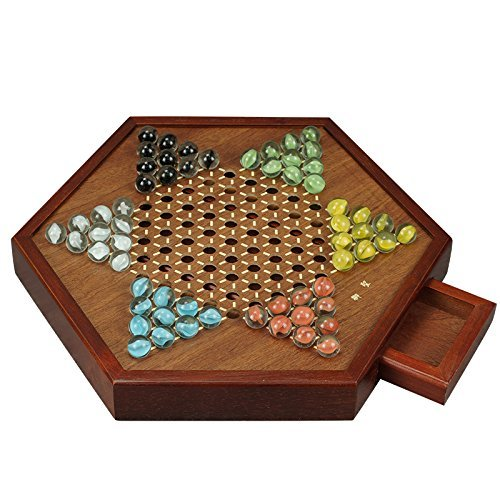 "Younglingn 12.5""All Natural Wood Chinese Checkers with Storage Drawer and Glass Marbles Checkers Board Games for Family"