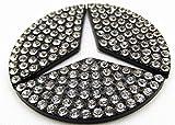 BENZ ベンツ クリスタルストーン 装飾 ステアリング エンブレム (ブラック, 小)
