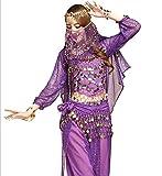 《Princess★MARRON》プリンセス・マロン 【 ベリーダンス 衣装 9 点セット 】 長袖トップス フェイススカーフ 【 選べる カラー 全 6 色 】 ダンス ステージ衣装 舞台 コスチューム アラジン アラビアン 大人 9点セット (紫色)
