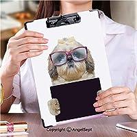 キングジム:クリップボード カラー A4判タテ型 作業用ペーパーホルダー大きなメガネの犬はタブレットやラップトップを保持しています (1個)