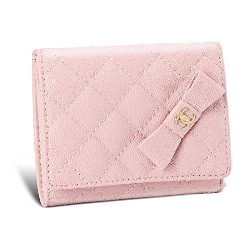 CHANEL Nouveauté mini wallet シャネル 財布 折りたたみ財布 レディース マトラッセ キャビアスキン 三つ折り財布 ミニ財布 ピンク