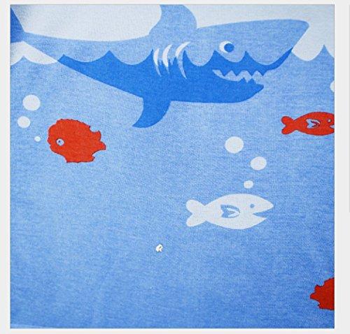 (マソンナーニ)Masonanic 綿100% 子供パジャマ ルームウェア キッズ  女の子 男の子 上下セット アニマル柄 サメ 長袖  寝巻き ボーイズ ガール 女児 男児 ベビー  2-7歳 (110cm, ライトブルー)