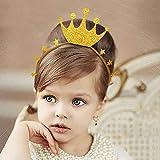 ゴールドグリッタークラウン誕生日ハットヘッドバンド 6点 誕生日パーティーヘアベルトスーツ 女の赤ちゃん用 プリンセスヘッドドレス 誕生日パーティー ベビーシャワー ウェディング クラウンヘアバンドデコレーション用品