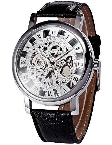 クラシック ローマ スケルトン メンズ 手巻き機械式 レザー バンド 腕時計 New PMW215