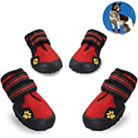Petacc 犬の靴 ペット用シューズ ドッグくつ 肉球保護 滑り止め 通気抜群 反射テープ 小中大型犬 4個セット レッド (4号)
