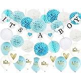 Furuix 男の子 誕生日 飾り付け 豪華32点 セット 風船 バルーン ペーパーポンポン ハニカムボール 提灯 ガーランド ブルー ホワイト