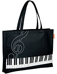 Pianoline ピアノレッスンバッグ(ト音記号&鍵盤柄) 音楽バッグ マチありトートバッグ
