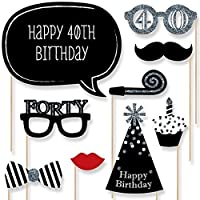 Adult 40th Birthday - Silver - Photo Booth Props Kit - 20 Count by Big Dot of Happiness, LLC [並行輸入品]
