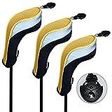 Andux ゴルフ ハイブリッド クラブヘッドカバー 交換可能な番号タグ付き 3個セット (ブラック/イエロー)