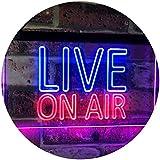 On Air Live Recording Studio Video Room Dual Color LED看板 ネオンプレート サイン 標識 青色 + 赤色 300 x 210mm st6s32-i3064-br