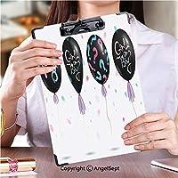 クリップボードメモ型サイズ低プロファイルクリップ 学生用かわいい画集性別女性と男性のシンボルを持つ4つの風船ブラックカラーのセットVector Illustartion (2パック)