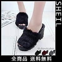 SHEIL ファーサンダル レディース ファーミュール 厚底 歩きやすい 22.5cm(35) ブラック