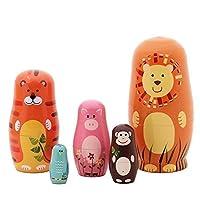 Demarkt Matryoshka 5 Packs Nesting Doll Handmade Wooden Cute Cartoon Animals Pattern 15cm