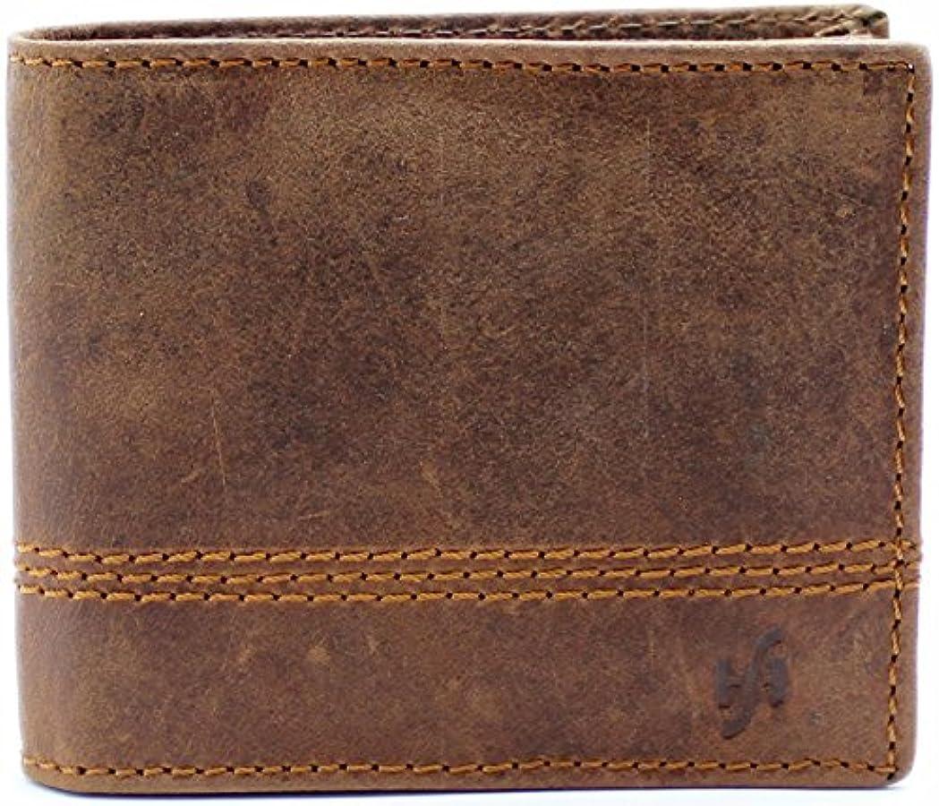 リベラル共産主義者繰り返したStarhide RFID 保護 男性用ヴィンテージブラウン本革製財布のギフトボックス #1150
