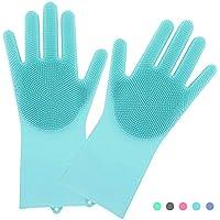 キッチングローブ ゴム手袋 キッチン ロング 耐熱手袋 シリコン ゴムグローブ 清潔な手袋 防水防油 泡立ちやすい 食器洗い 掃除 洗濯 多機能手袋 (ブルー)