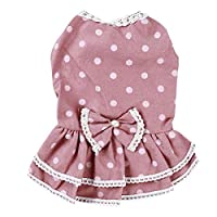 小さな犬のウェディングドレスちょう結びスカートピンクMのためのZALINGラブリーサマードッグドレスペット犬の服