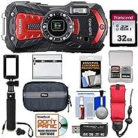 リコー WG-60 防水/耐衝撃 デジタルカメラ (レッド) 32GBカード+バッテリー+ケース+セルフィースティック+フローティングストラップ+キット