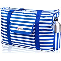 Beach Bag XXL. 100% Waterproof (IP64). L22 xH15 xW6 / 56x38x15cm w Ribbon Handles (Padded Grip), Top Zip, Three Outside Pockets. Beach Tote Includes Phone Case, Built-In Key Holder, Bottle Opener