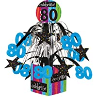 (1) - Creative Converting Party Decoration Metallic Foil Cascading Centrepiece, Milestone Celebrations 80th