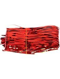 Kicode 1 M 赤 メタリックフリンジ シャイニーカーテン プラスチック ウェディングパーティーの装飾 写真の背景