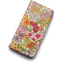 iPhone X ケース 手帳型 リバティ マーガレットアニー(オレンジ&ピンク)コーティング SHOKO MIYAMOTO かわいい おしゃれ マグネット無しでカード安全 スマホケース アイフォンケース Liberty