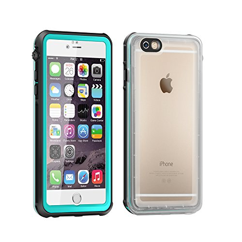 Eonfine-正規品 iPhone 6 plus / 6s plus 用 防水ケース 5.5インチ フルプロテクションカバー 透明ケース クリア 薄 防水 防雪 防塵 耐衝撃 落下防止 IP68 指紋認証対応 アイフォンケース ティール