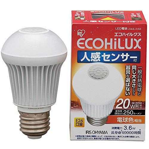 エコハイルクス 人感センサー 電球色 3.6W E26口金 LDA4L‐H‐S4 箱1個