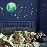 HORIECHALY Glow in The Dark Stars Wall Stickers, 221 Adhesive Bright and Realistic Stars and Full Moon for Starry Sky, Shinin