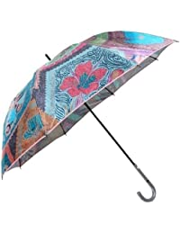 【EPICE】エピス 日本製「UVカット加工」バタフライ切手プリント 婦人長傘(雨傘) ピンク