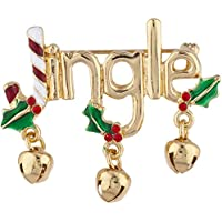 Lux Accessories Gold Tone Christmas Xmas Holiday Jingle Jingle Bells Brooch Pin