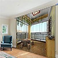 3Dカーテンポリエステルビジュアルスペースデジタル印刷寝室リビングルームブラックアウト絶縁されたノイズ低減窓ドレープルーム暗くするパネルカーテン、ワイド3.0x高2.7