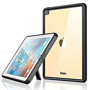Temdan iPad Pro 9.7/ Air2 防水ケース 完全防水IP68規格 耐衝撃 衝撃吸収 薄型軽量 全面保護アイパッドカバー スタンド機能 ストラップ付き お風呂 キッチン プール ipad 9.7 inch(2016):A1673,A1674,A1675 ;ipad air2:A1566,A1567適(黒)