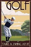 ゴルフ–Take aスイングat it 24 x 36 Signed Art Print LANT-51759-710