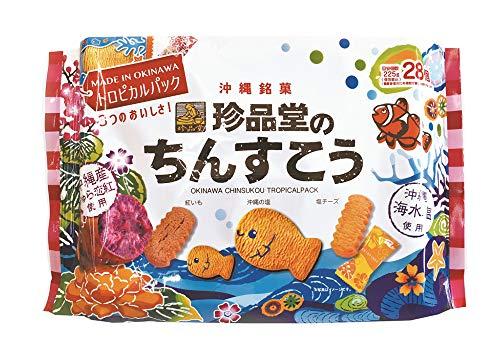 珍品堂のちんすこうトロピカルパック 225g×40袋 珍品堂 紅芋・沖縄の塩・塩チーズ味の3種が楽しめるクッキーのようなちんすこう